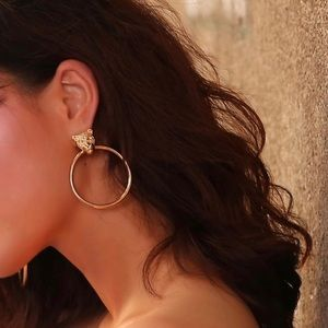 BACK IN STOCK!! Gold Lion Head Statement Hoops